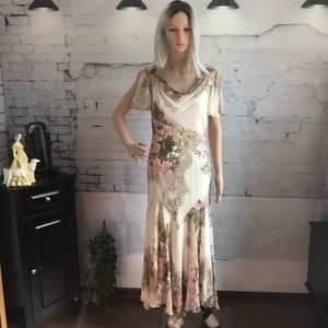 Vintage Eva Blue Dress Floral Beaded sz. 8